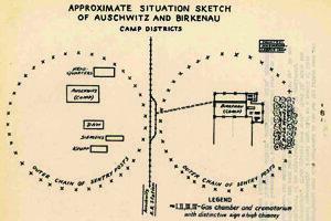 Správa opisuje mechanizmus vraždenia: na nákrese vľavo Auschwitz I s veliteľstvom tábora, vpravo Auschwitz II – Birkenau (Brzezinka) s plynovými komorami a krematóriami.