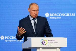 Ruský prezident Vladimir Putin na energetickej konferencii.
