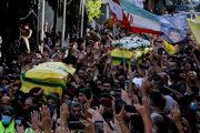 Pohreb zabitého prívrženca Hizballáhu.