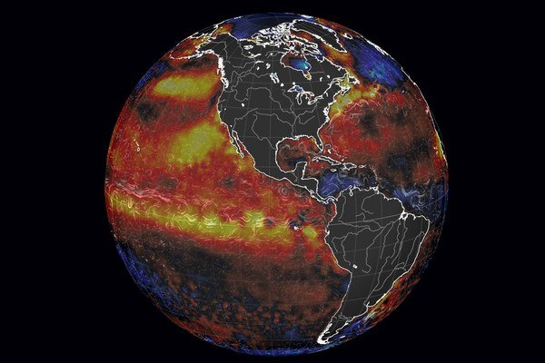 Simulácia znázorňujúca teplé prúdenie v oceánoch.