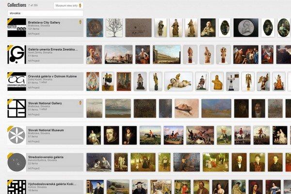 Takýto pohľad sa vám naskytne, keď na stránke Google Art Projektu zadáte Slovakia.