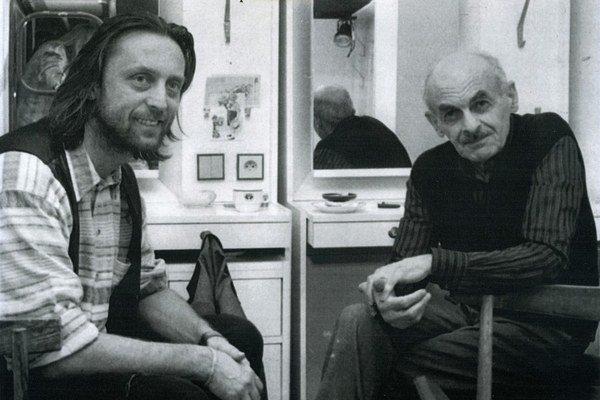 Bulat Okudžava a Jiří Vondrák v Prahe (1995).