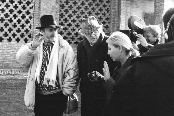 Eva Rosenbaumová s Federicom Fellinim a Jurajom Jakubiskom.