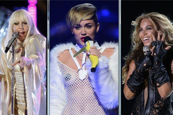 Zľava Lady Gaga, Miley Cyrus a Beyoncé.