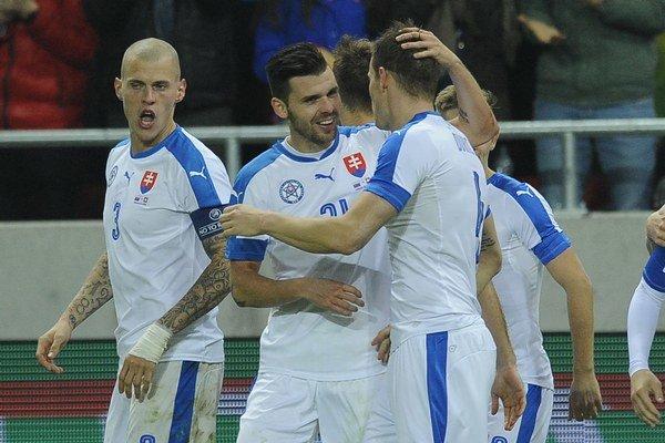 Michal Ďuriš (druhý zľava) sa konečne dočkal gólov v národnom drese.