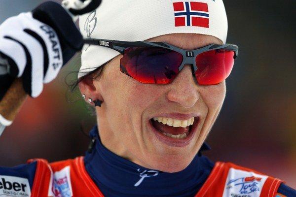 Marit Björgenová po víťazstve v piatej etape Tour de Ski.