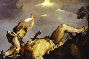 Tizian: Dávid a Goliáš.