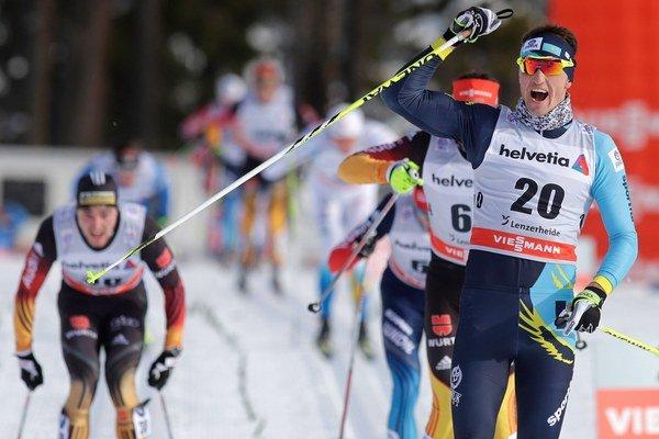 Poltoranin sa teší po víťazstve v pretekoch v Lenzerheide.
