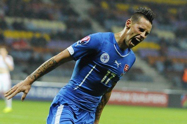 Marek Hamšík oslavuje gól.