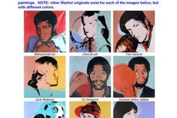 Muhammad Ali, Chris Evertová, Tom Seaver, Jack Nicklaus, OJ Simpson či Kareem Abdul Jabbar patrili na Warholove portréty, ktoré ukradli.