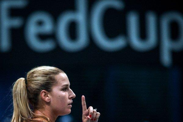 Dominika Cibulková počas domáceho zápasu s Nemeckom.