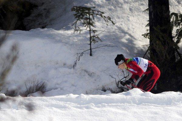 Alena Procházková  počas tretieho štvrťfinálového šprintu žien na 1,4 km  na ZOH vo Whistleri.