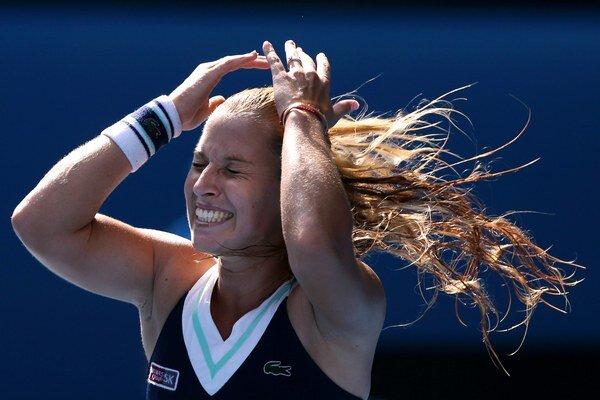 Dominika Cibulková tesne po vyhratom zápase.