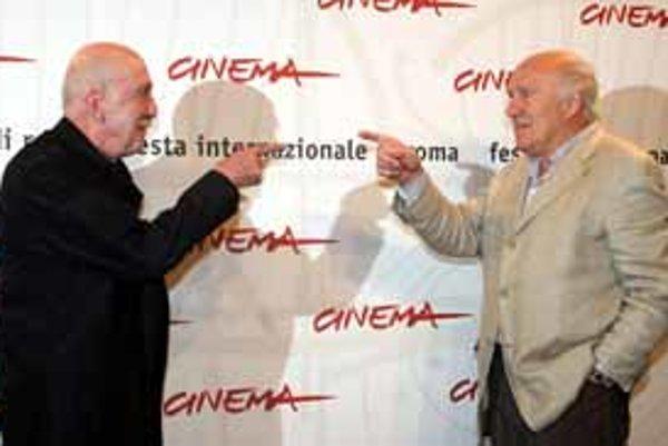 Otar Iosseliani (vľavo) a Michel Piccoli, ktorý vo filme Jesenné záhrady skvelo zahral postavu ministrovej matky.