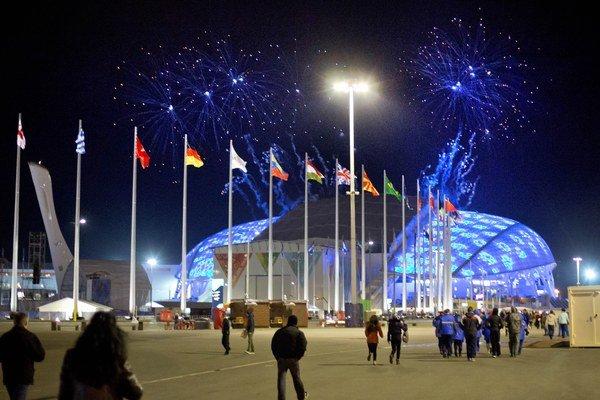 Skúška pred otváracím ceremoniálom na otvorenom štadióne Fišt 1. februára.