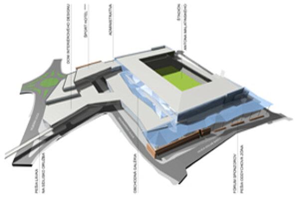 Vizualizácia nového štadióna.