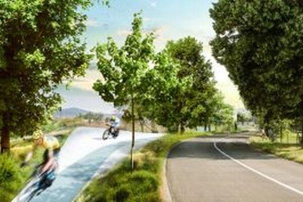 Návrh cyklotrasy od architektov Márie Vankovej a Štepána Moslera.