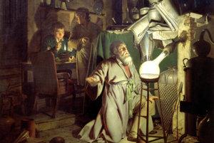 Alchymista hľadá kameň mudrcov na maľbe Josepha Wrighta of Derby.