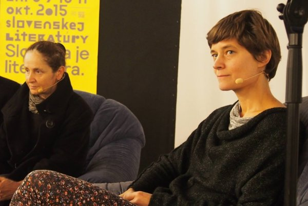 Magdalena Tulli a Petra Hůlová na festivale Dni slovenskej literatúry.
