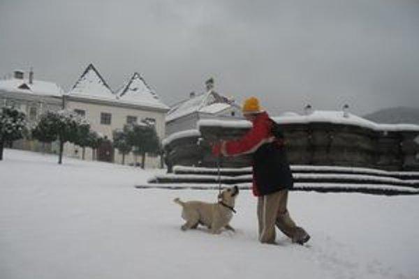 V Kremnici je približne desať centimetrov snehu.