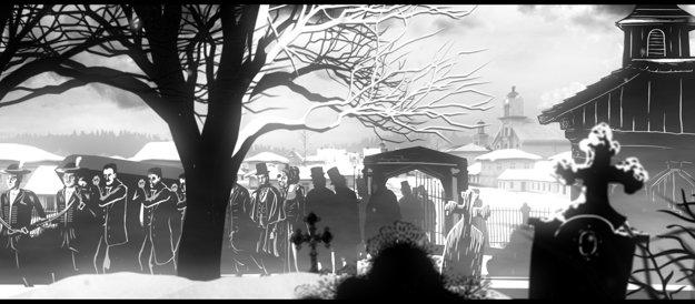Štúrov pohreb v Modre. Autorom animácií je výtvarník Noro Držiak.