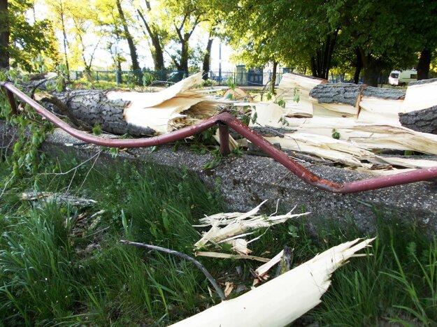 Konáre poškodili zábradlie pri rieke.