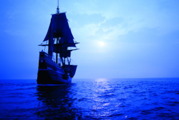 Replika lode Mayflower, ktorá sa pred 390 rokmi vydala na spiatočnú plavbu do Európy. VAmerike zanechala prvých osadníkov v dnešnomštáte Massachusetts