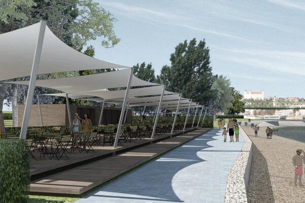 Vizualizácia občianskeho návrhu Lido Lagúna na riešenie časti nábrežia Dunaja v Petržalke.