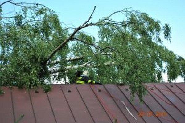 Až 25 metrov dlhá breza skončila na streche rekreačnej chaty.
