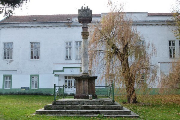 Trojičný stĺp sa nachádza neďaleko od Tekovského múzea.