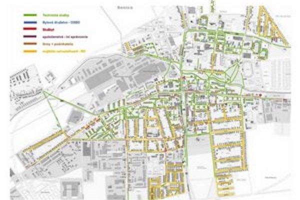 Mapa údržby chodníkov v Senici.