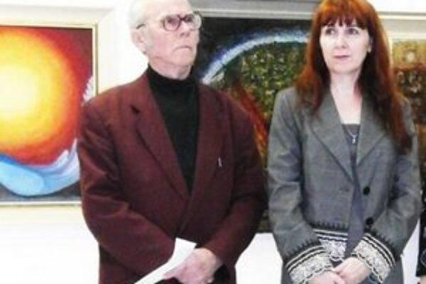 Vystavujúci autori - otec s dcérou.