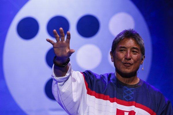 Guy Kawasaki počas svojej prednášky na startupovej konferencii TechMatch.