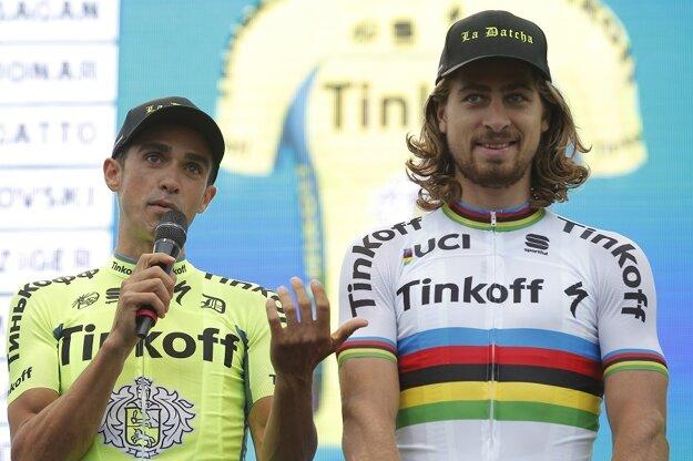 Contador (vľavo) a Sagan tvorili v Tinkoffe silnú dvojicu.