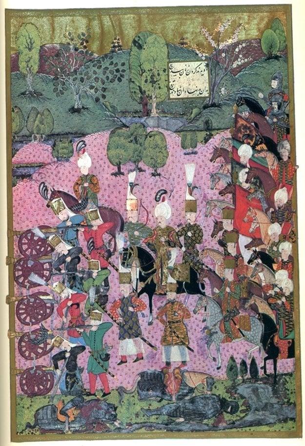 Osmanská miniatúra zobrazuje výjav z bitky pri Moháči v roku 1526 so sultánom Sulejmanom I. Nádherným v strede.