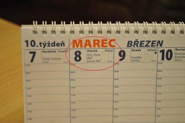 Kalendár sa nemenil. Den žien je stále 8. marca.