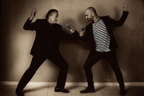 Igor Timko a Karel Gott. Počas fotenia sa rozprávali najmä o hudbe.