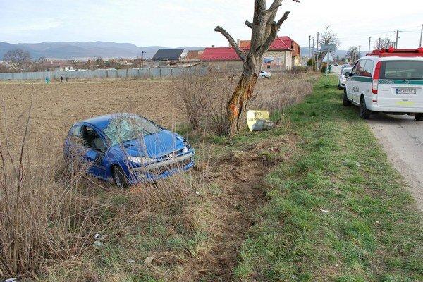 Po nehode. Auto od priameho plného nárazu do stromu pribrzdil informačný stĺp.