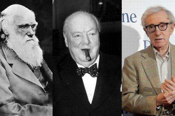 Zľava: Charles Darwin, Winston Churchill, Woody Allen