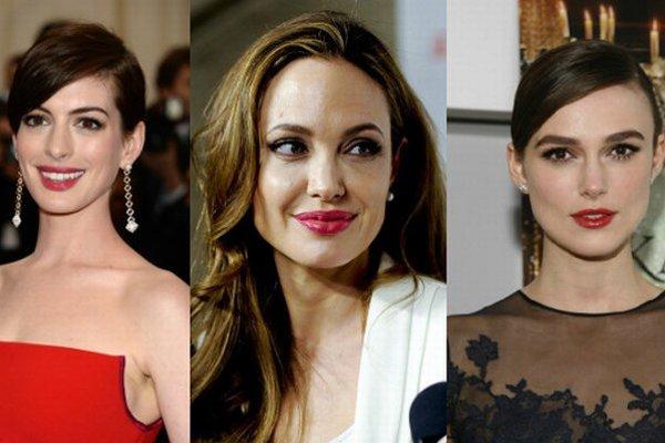 Zľava: Anne Hathaway, Angelina Jolie, Keira Knightley