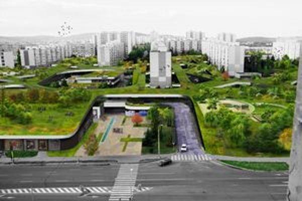 Zelené KVP. Na pôvodnom podlaží autá a parkovanie, na novom zeleň a chodci.