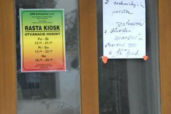 Košický Rasta kiosk. Od stredy je zatvorený, vraj z technických príčin.