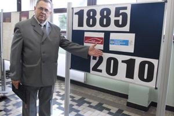 Bradatá. Riaditeľ J. Eperješi ukazuje, že škola má už 125 rokov.