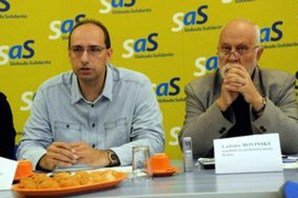 Ladislav Rovinský (vpravo) a krajský šéf SaS Alexander Barna.