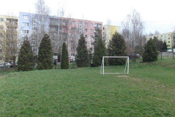 Zelená plocha. Nová hala v Prešove za 1,4 milióna eur má stáť nad školou pri terajšom futbalovom ihrisku.