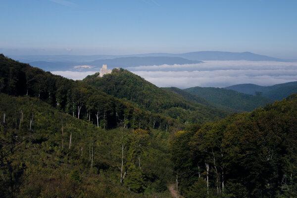 Ranný výhľad na hrad Tematín.