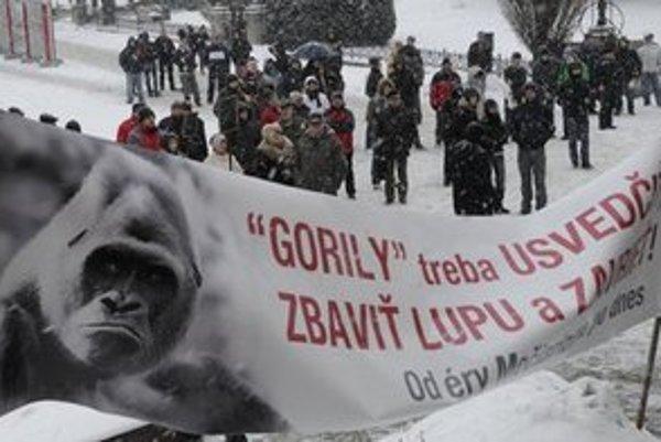 Z protestu Gorila v centre Prešova.