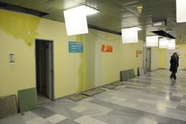 Zamoknuté steny v prešovskej nemocnici po havárii potrubia vo februári.