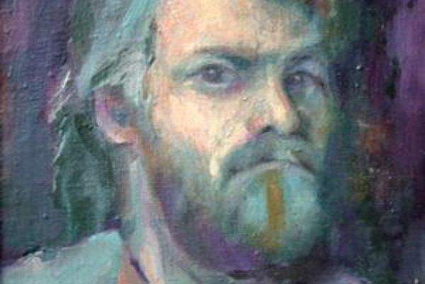 Autoportrét Jaroslava Rešovského. Svoju podobizeň namaľoval v roku 1990.