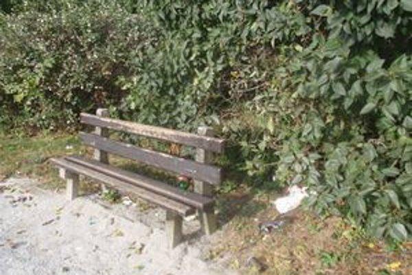 Park pri Čiernom moste. Lavičky sú zničené a dookola samé odpadky.